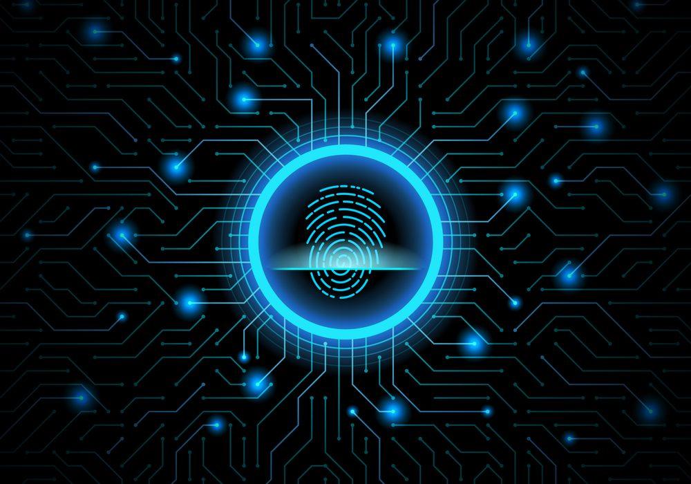 Cyber,Security,Fingerprint,Dark,Blue,Abstract